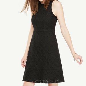 NWT Ann Taylor Sleeveless Eyelet Flare Dress BLACK